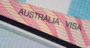 australian visa in between two british passport pages